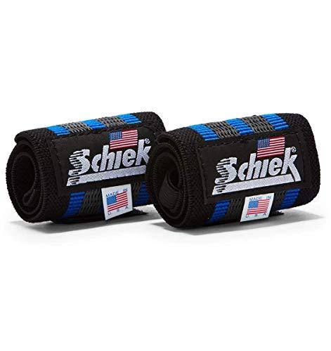 Schiek Sports Blue Line Heavy Duty Rubber Reinforced Wrist Wraps -18'-Black/Blue