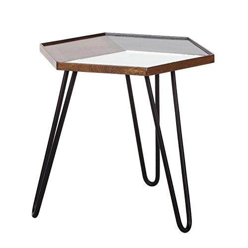 Bijzettafel, salontafel, woonkamer, metaal, houten tafel, deels massief, mango zwart