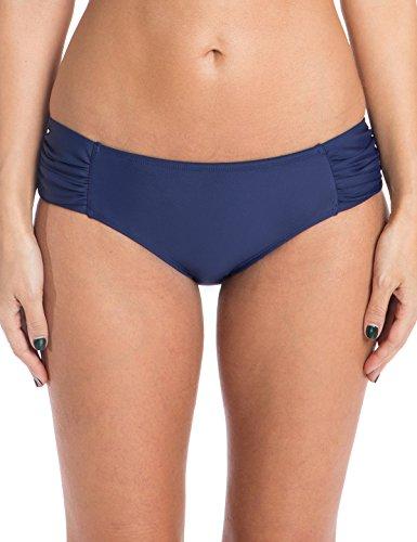 Ocean Blues Women's Swim Standard Ruched Bikini Bottom, Navy Blue, Medium