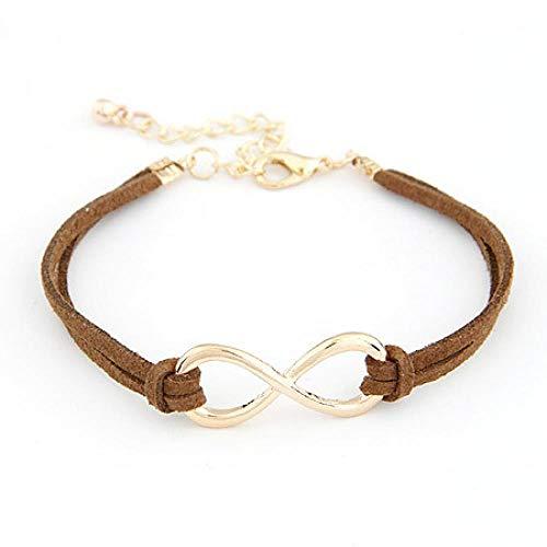 Armband sieraden Mode Infinity Zwart Rood Lederen Touw Armbanden Voor Vrouwen Mannen Acht Figuur Goud Kleur Bedelarmband Verstelbare Sieraden