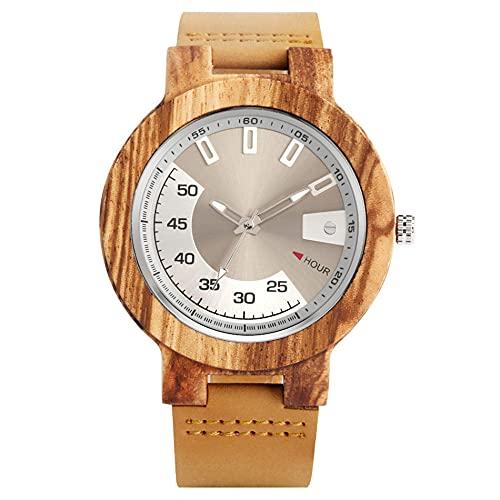 UIOXAIE Reloj de Madera Reloj de Madera para Hombre, Esfera de exhibición Creativa, Reloj de Pulsera de Cuarzo de Cuero Genuino, Relojes Casuales para Hombre, marrón