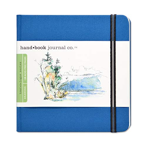 Travelogue Drawing Book, Square 5-1/2 x 5-1/2, Ultramarine Blue Artist Journal