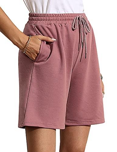 Quenteen Womens Bermuda Shorts for Summer Elastic Waist Lounge Sleep Short Pants Bottoms Dark Pink X-Large