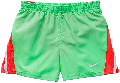 Nike Girl`s Dri-FIT Tempo Running Shorts (Aphid Green(26D186-F1K)/Pink, 2T)