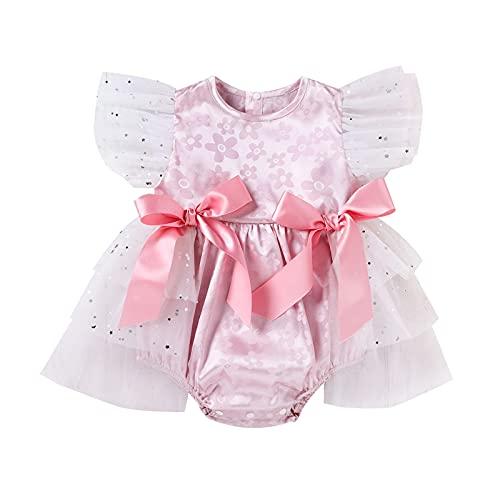 YWLINK Falda del Vestido del Mameluco del Mameluco del TriáNgulo del Hilo Neto del Bowknot del Jacquard del Bebé De La NiñA Vestido De Fiesta De CumpleañOs De Mono De Tul Vestido Princesa Bril