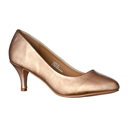 Riverberry Women's Ruby Round Toe, Kitten Low Height Pump Heels, Rose Gold PU, 7.5