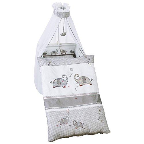 4 teiliges Bettwäsche Set Jumbotwins, moderne Applikationen - Baby Kinder Bett Decke Kissen Baumwolle Garnitur