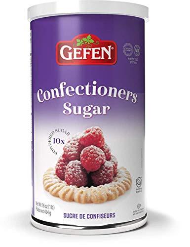 Gefen Confectioners Sugar, 16oz, Resealable Container, No Cornstarch, 10x Powdered Sugar 1lb, Premium Confection Sugar