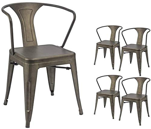 Devoko Metal Chair Indoor-Outdoor Tolix Style Kitchen Dining Chairs Stackable Arm Chairs Set of 4 (Gun)