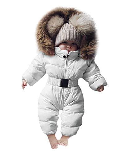 Minetom Baby Babykleidung Neugeborene Schneeanzug Winter Säugling Baby Junge Mädchen Spielanzug Strampler Jacke Mit Kapuze Overalls Warm Dicker Mantel Coat Outfit Weiß 18-24Monate(80)