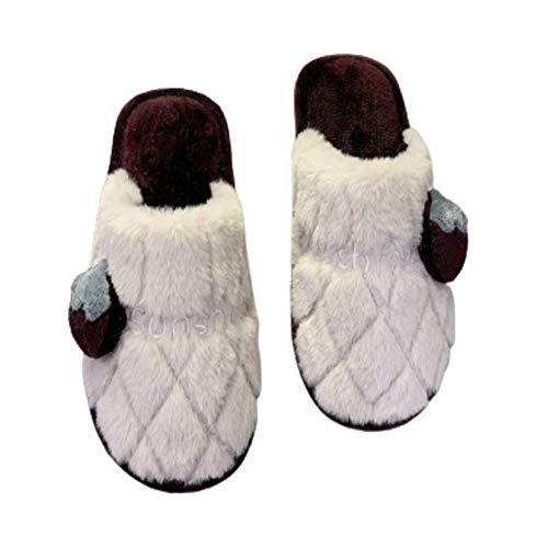Y-PLAND Zapatillas de algodón de Pareja de otoño e Invierno de Dibujos Animados, Zapatillas de Felpa de tacón Plano de Color sólido, Zapatillas peludas para el hogar Baotou-Blanco_EU37-38