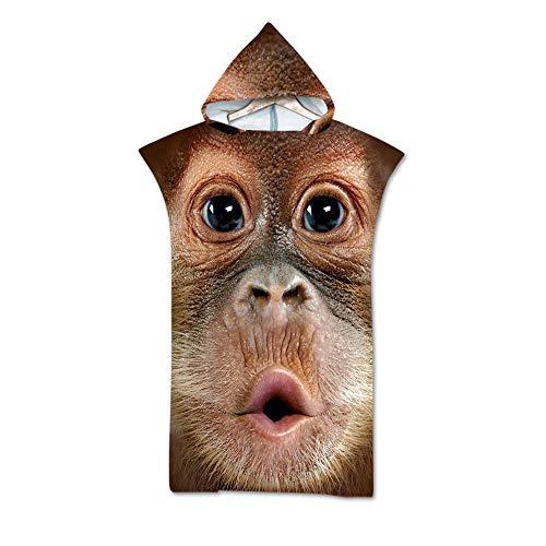 NAID dier badjas badhanddoek grappige Gorilla Print capuchon badhanddoek strandlaken unisex One Size Fit alle 140 * 75cm