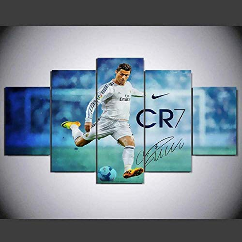 MMSY Modern Multi Panel 5 Pieces Wall Art Picture Ready To Hang Canvas Prints Wall Art For Soccer Football Sports Player Home Decorations Artwork 5 Piece Stretched And Framed Giclee Canvas Prints