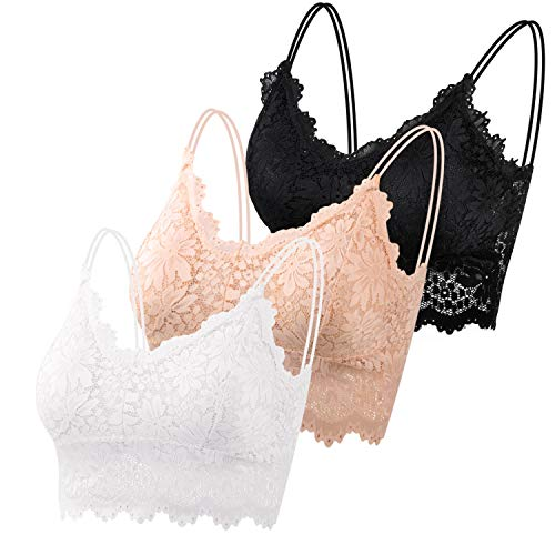 PAXCOO Lace Bralette for Women, 3 Pcs Lace Bralette Padded Lace Bandeau Bra with Straps for Women Girls (Black, Beige, White, M-L)