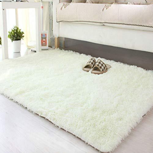 Teppiche weiche Flauschige Teppiche Anti-Skid Shaggy für Wohnzimmer Sofa Boden Dekoration Schlafzimmer Teppichbodenmatte(Weiß,40 * 60cm)