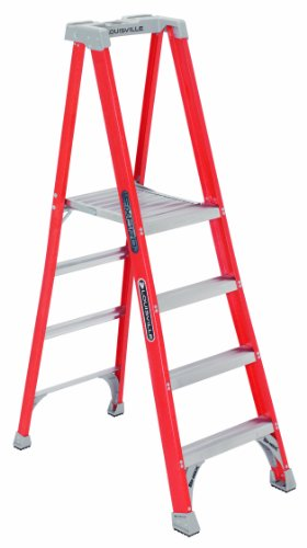 Louisville Ladder 12-Foot Fiberglass Pro Platform Ladder with Extended Rail, 300-Pound Capacity, Type IA, FXP1712