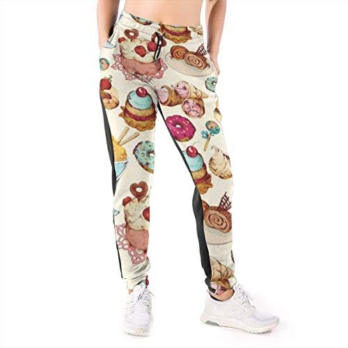 Rainbow Ice Cream Candies - Pantalones de Deporte para Mujer, diseño de Helado Negro Negro (L
