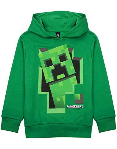 MINECRAFT Hoodie Boys Creeper Green Jumper Gamer Bambini con Cappuccio Maglione 7-8 Anni