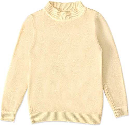 Baby Boys Girls Knit Sweater Toddler Kid Long Sleeve Crew Neck Basic Solid Fine Knit Tops,Beige,Recommeded Age,18-24 Months