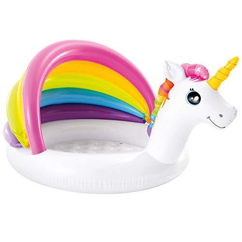 INTEX 57113 - Piscina hinchable bebé con parasol, piscina inflable unicornio, para niños, piscina hinchable bebé 2 años, 127x102x69 cm, 45 litros