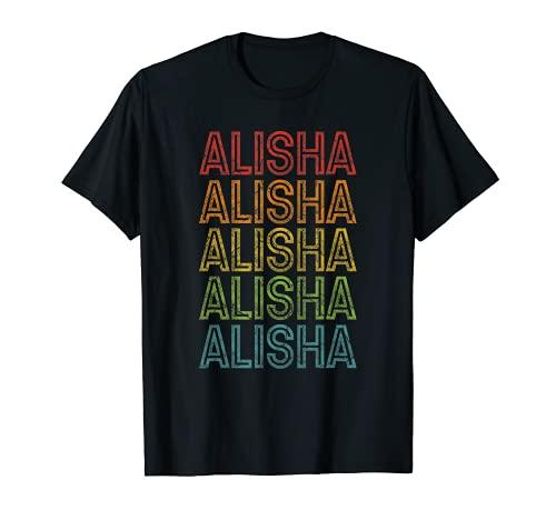 Alisha Primer Nombre Retro Grunge Color Vintage Camiseta