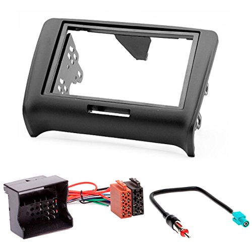 CARAV 11-124-25-7 Kit d'installation autoradio DIN Car de 2 dans Dash Set for TT (8J) 2006-2014 + ISO and Antenna Adapter Cable