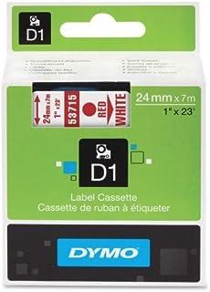 DYMO 标准 D1 53715 标签胶带(白色胶带上红色印花,2.54 厘米宽 x 58.42 厘米长,1 盒)(2.54 厘米 x 58.42 厘米,白色胶带上红色印刷)