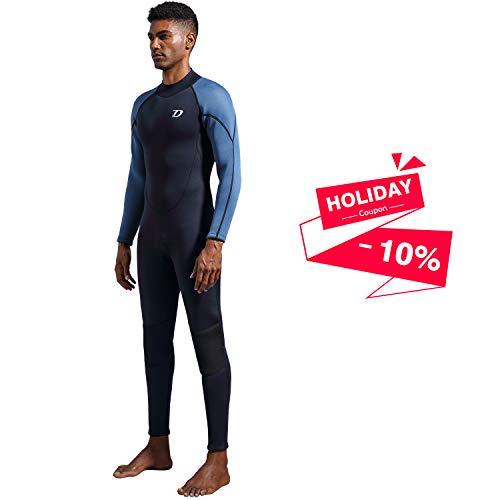 Dark Lightning Premium CR Neoprene Wetsuit, 2018 Mens Long Sleeves Scuba Diving Thermal Wet Suit in 3/3mm, Full Suit (Men's X-Large)