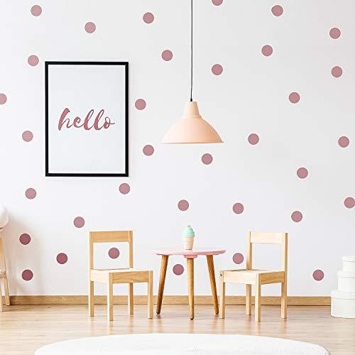 Vinilo de Pared Puntos (200 Calcomanías) Fácil de Despegar y Palo- Decoración de Lunares de Vinilo Metálico Extraíble, Etiqueta Redonda de Círculo Habitación Infantil Festiva Bebés (Oro Rosa)