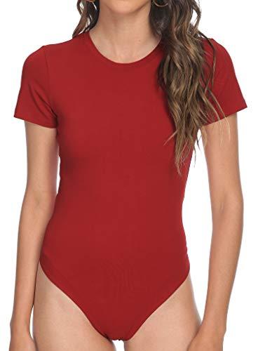 Dark Red Womens Shirt Crew Neck Short Sleeve Stretchy Bodysuit Jumpsuits Large