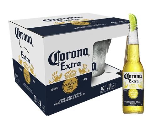 Corona Extra 10er-Pack inkl. Eiseimer, Geschenkpack, Internationales Premium Lagerbier MEHRWEG Lager Bier Helles (10 x 0.355 l)