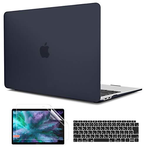 TwoL 2018-2020 MacBook Air 13 対応 3セット高品質軽量 つや消しハードケース 新しい 13.3 インチ マックブック エアー A1932 A2179 A2337 M1 モデル保護シェル + JIS日本語ーキーボードカバー + 液晶保護フィルム付き、ブラック