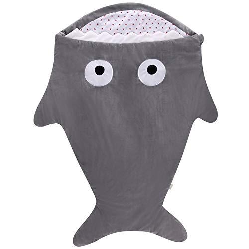 OMKMNOE Bebe Baby Shark Anti-Kick Socket, Manta Universal de Bebé Multifuncional, Algodón Sufve Ropa de Cama recién Nacida,Gris