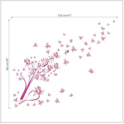 Wwjwf Fliegende Rosa Schmetterlingsblumenblüte Bleistiftbaum Abnehmbares Wohnzimmer Mädchen Schlafzimmer Wandaufkleber Diy Hauptdekoration Aufkleber Wandbild