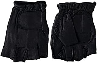 Hot Leathers Naked Leather Fingerless Gloves (Black, Medium)