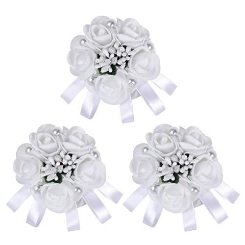 Pulseira Amosfun corsagem de pulso para madrinha de casamento, corpete de pulso para flores artificiais, para casamento, formatura, festa, 3 peças (branca)