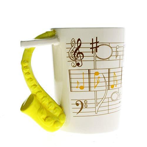 HYOUH - Taza de café Música Divertida Jazz Saxofón Instrumento Musical Nota Musical Sax Cerámica Café Taza de té Saxofonista Regalo