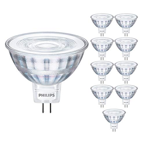 Philips CorePro 929001344502 - Lote de 10 focos LED de 5 W (35 W, MR16, 4000 K, luz blanca fría, 390 lúmenes, 15000 horas, 36°, incluye ambientador para coche