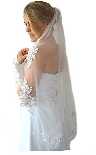 Unbekannt Schleier Brautschleier FEIN 1 Lage mit Kamm Strass Hochzeit Braut Weiß Ivory 85 cm (Ivory)