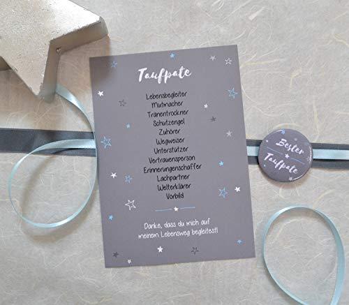 Taufpate fragen Karte mit Button, Geschenk für Patenonkel, Dankeschön zur Taufe Pate sein