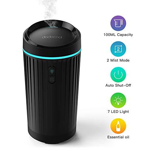 dodocool Ambientador Humidificador Coche, Difusor de Aroma de Aceite Esencial 100 ml con 2 Opciones de Niebla y 7 Color LED, Potente y Silencioso, Negro