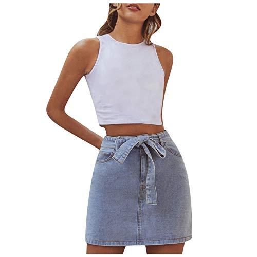 Pantalones vaqueros para mujer, minifalda con botones, falda vaquera rasgada, falda de lápiz, falda vaquera, minivestida, hasta la rodilla. azul XS