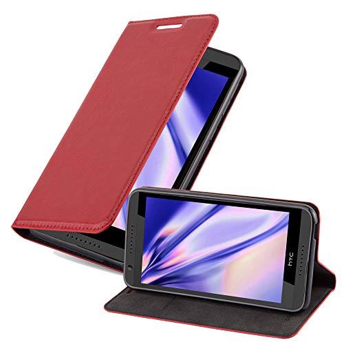 Cadorabo Hülle für HTC Desire 820 in Apfel ROT - Handyhülle mit Magnetverschluss, Standfunktion & Kartenfach - Hülle Cover Schutzhülle Etui Tasche Book Klapp Style