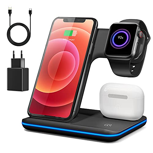 Wireless Charger, Iduktive Kabellose Ladestation 18W Qi Ladegerät mit QC 3,0 Stecker für iPhone 12/11 ProMax/XS MAX/XR/X/8/App.le Watch 6/5/4/3/2/Air.pods und Qi-fähige Geräte (Brown)