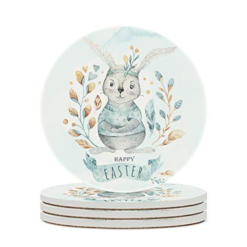 Wraill Posavasos redondos con diseño de conejo de Pascua y acuarela, color azul, de cerámica, 4 o 6 posavasos absorbentes con dorso de corcho para casa, cocina u oficina, color blanco, 4 unidades