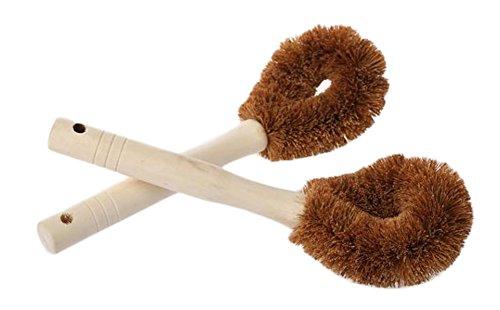 Milopon Lot de 2 brosses de cuisine à manche long - Pour nettoyer la vaisselle - En noix de coco et palmier