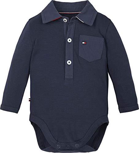 Tommy Hilfiger Baby-Jungen POPLIN Collar Body L/S Kleinkind-Tank-Top, Marineblau (Twilight Navy), 56 cm