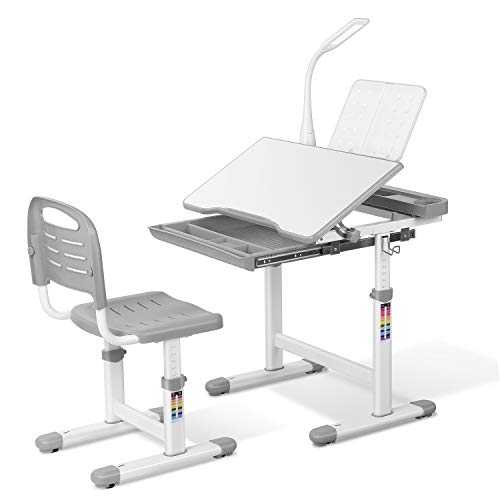 LAZY BUDDY Kids Desk and Chair Set, Height Adjustable School Children Study Table with LED Lamp, Bookstand, Wood Tilting Tabletop, Drawer Storage, for 3-15 Years Old Students (Gray)