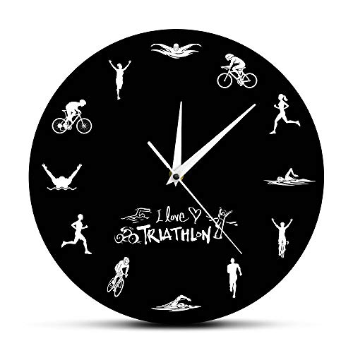 guijinpeng Reloj de Pared Triatlón Reloj de Pared Moderno Natación Bicicleta Ciclismo Correr Deportes Decoración para el hogar Triatleta Reloj de Pared Reloj Triathlon Fans Gift