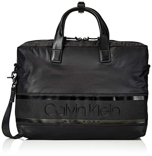 Calvin Klein Herren Striped Logo Laptop Bag Tasche, Schwarz (Blackwhite Black), 1x1x1 cm